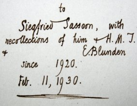 Inscription by Edmund Blunden