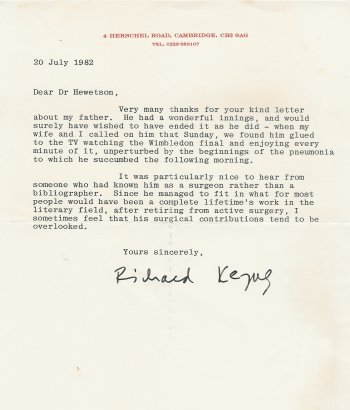 Letter from Richard Keynes